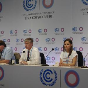 Photo: María José Veramendi Villa (center) speaks about the protection of human rights in climate actions during a press conference at the COP20 in Lima. | Credit: AIDA.