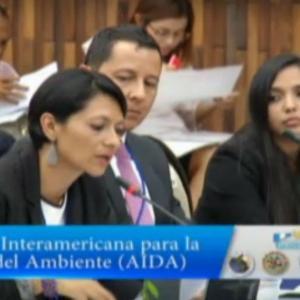 Astrid Puentes, codirectora de AIDA, interviene en una audiencia ante la Corte IDH