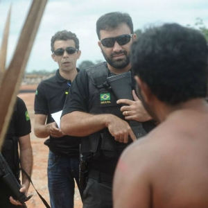 Military police intimidates indigenous people demanding a definitive end to the Belo Monte dam in Brazil