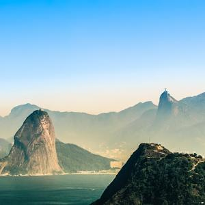View of the beautiful mountains and coastline of Rio