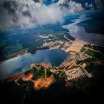 An aerial view of the Amazon jungle surrounding the Belo Monte Dam in Brazil.
