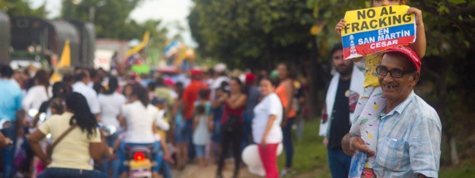 Marcha contra el fracking en Colombia.