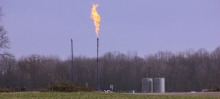 Flaring at the Scott Township fracking well in Pennsylvania.
