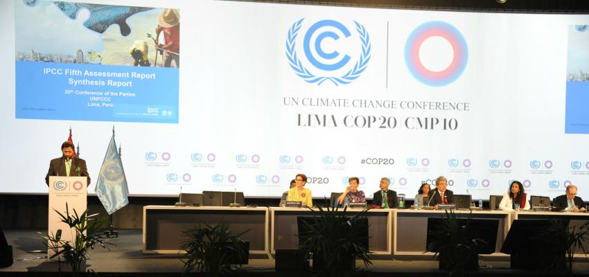 the front table at the UNFCC climate negotiations in Lima, Peru