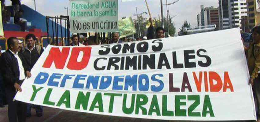Protest against the criminalization of environmental defenders in Guatemala.