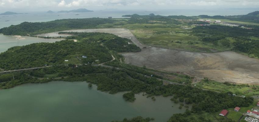 An aerial view of the mangrove ecosystem in Panama Bay, Panama.